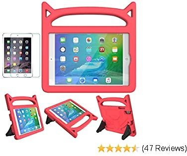 MOXOTEK Kids Case for IPad Mini 1 2 3 4 5, Cute Durable Shockproof Protective Handle Stand Case with Screen Protector for Apple 7.9 Inch IPad Mini 5th (2019),4th,3rd,2nd,1st Generation, Red