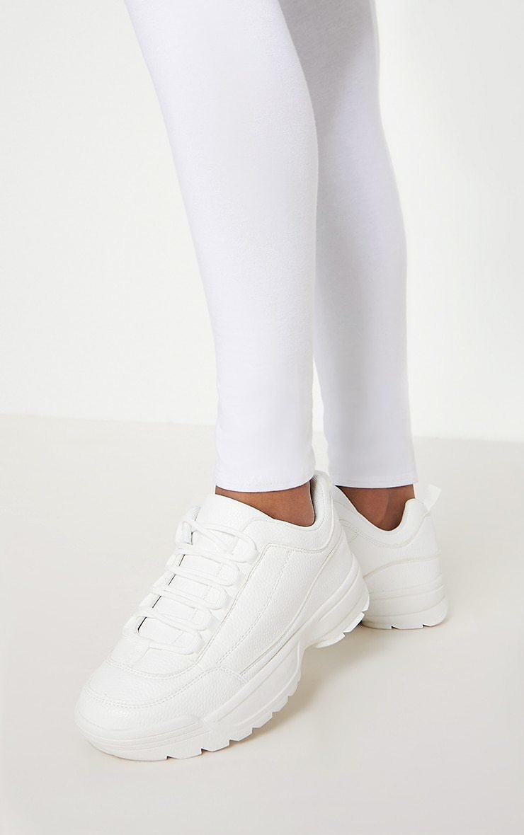 White Chunky Cleated Sole Sneakers