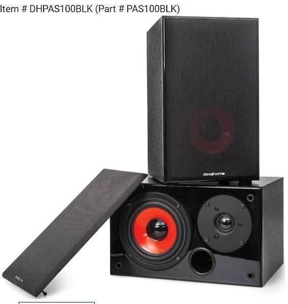 Deco Home DHPAS100 Passive 140W Bookshelf Speakers, 5in. Woofer with Dome Tweeter, Black | BuyDig.com
