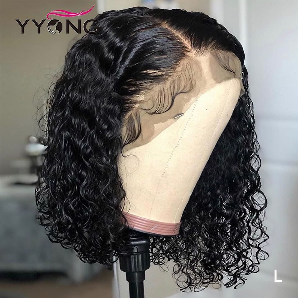 13x4 Lace Front Human Hair Wigs Brazilian Deep Wave Human Hair Short Bob Wig With Pre Plucked Hairline 120% Wig