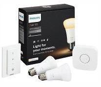 Philips Hue White Ambiance A19 LED 60W Equivalent Dimmable Smart Wireless Lighting Starter Kit