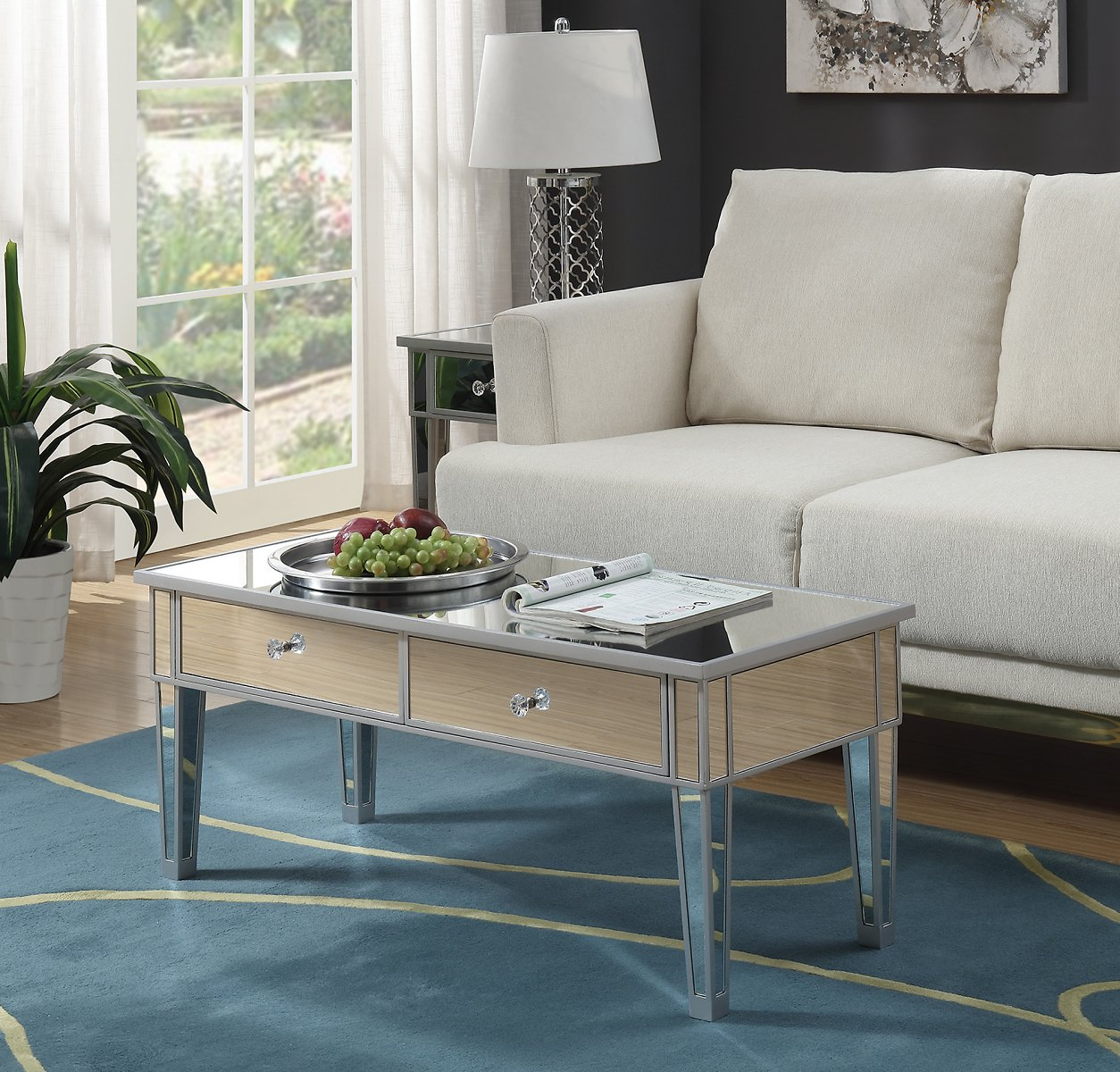 Convenience Concepts Gold Coast Mirror Coffee Table with Two Drawers