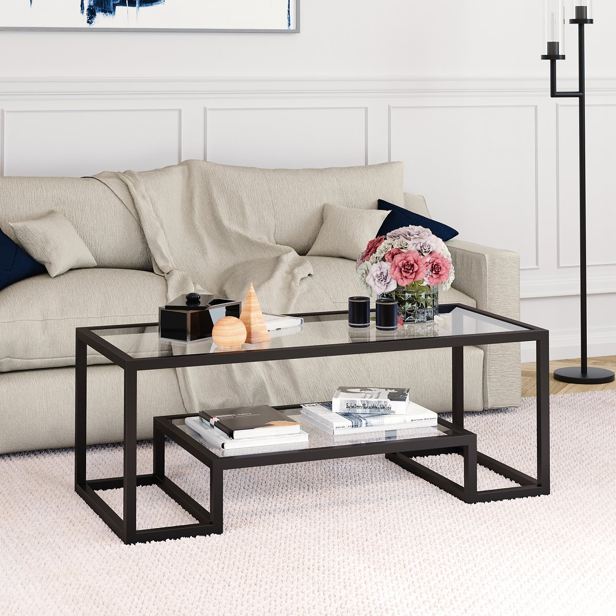 Geometric Modern Glass Coffee Table with Storage Shelf, Rectangle Accent Table in Nickel for Living Room, Home Office, Den, 17