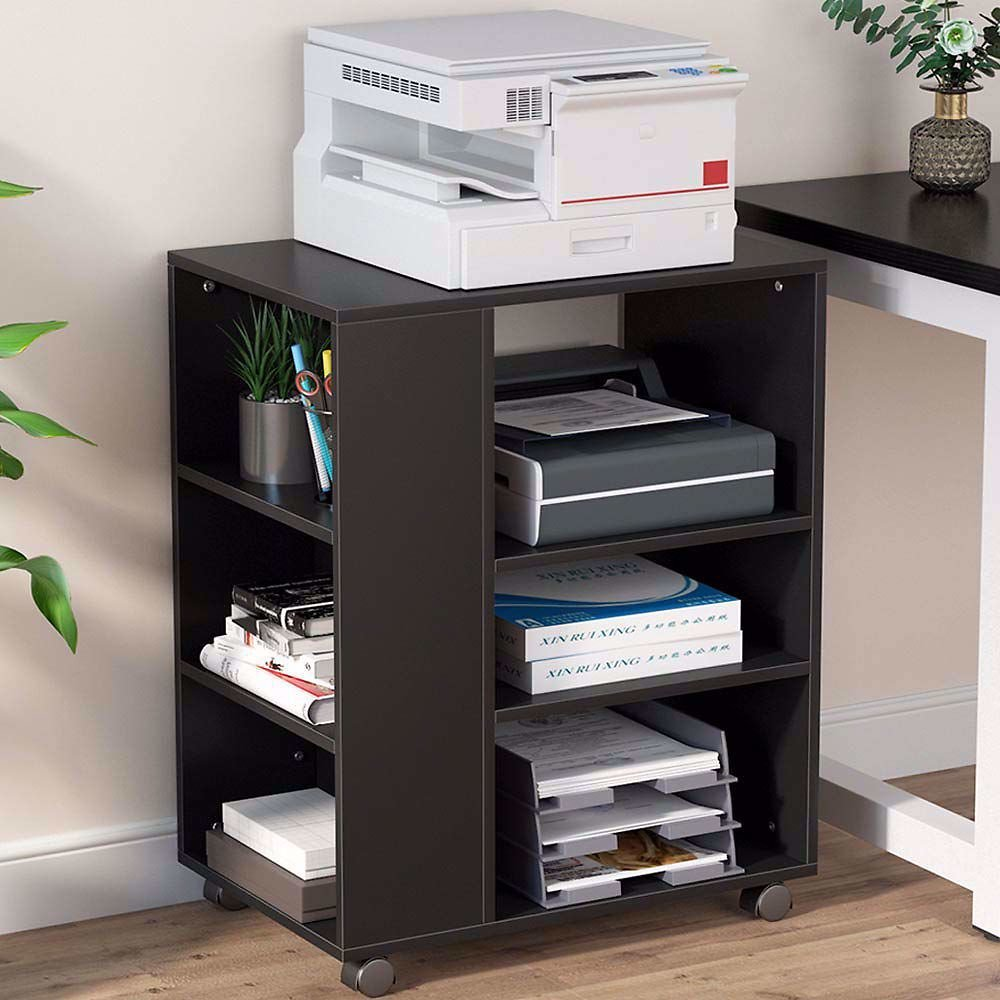 Tribesigns Mobile Printer Stand, Modern Printer Cart File Cabinet with Storage On Wheels, Open Shelves, Computer Side Table Mach