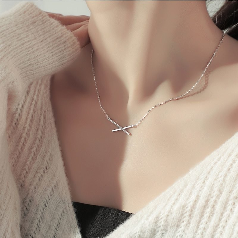 US $4.5 |ONEVAN Trendy 925 Sterling Silver AAA Zircon Geometric Strip Pendant Necklaces For Women Gift Simple Fine Jewelry NK017|Pendants| - AliExpress
