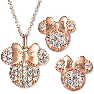 Children's 2-Pc. Set Cubic Zirconia Pavé Minnie Mouse Pendant Necklace & Matching Stud Earrings in 18k Rose Gold-Plated Sterling Silver