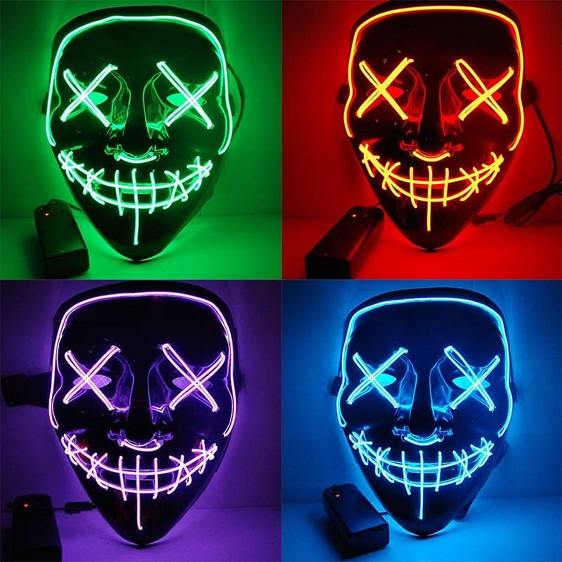 Halloween Led Glow Masks Horror Rave Mask Light Up For Festival Cosplay Costume Funny Election DJ Party Decor Glowing Mask