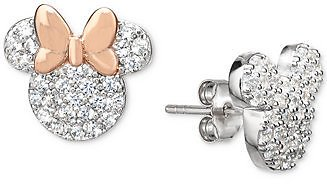 Disney Cubic Zirconia Mickey and Minnie Mismatch Stud Earrings in Sterling Silver & 18k Rose Gold-Plate & Reviews - Earrings - Jewelry & Watches