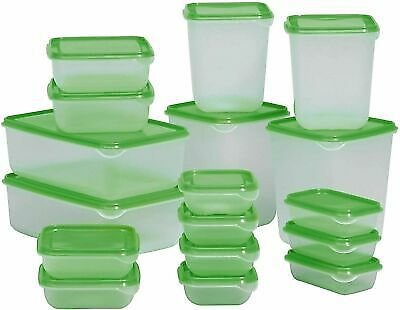 Plastic FOOD CONTAINER Sets Fridge Freezer Storage Tubs & Lids Green Set of 17