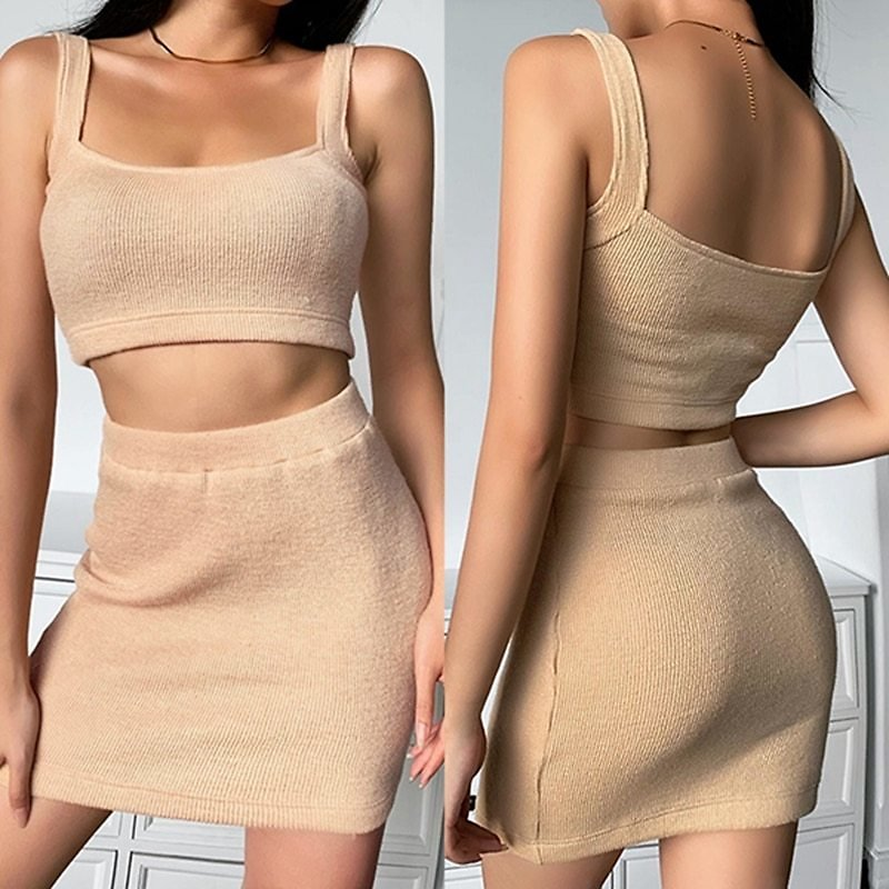US $10.31 25% OFF|Two Pieces Skirt Set Women Sleeveless Crop Top and Skirt Solid Color Skinny Elastic Sexy Women Mini Skirts Sets|Women's Sets| - AliExpress