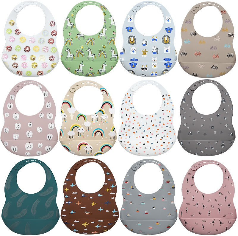 US $3.99 40% OFF|2020 New Printed Carton Silicone Bib Waterproof Baby Feeding Newborn Cartoon Aprons Adjustable Baby Bibs Burp Cloth|Bibs & Burp Cloths| - AliExpress