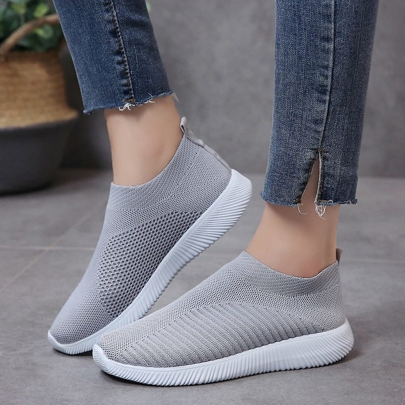 US $9.26 43% OFF|Rimocy Plus Size 46 Breathable Mesh Platform Sneakers Women Slip On Soft Ladies Casual Running Shoes Woman Knit Sock Shoes Flats|Women's Flats| - AliExpress