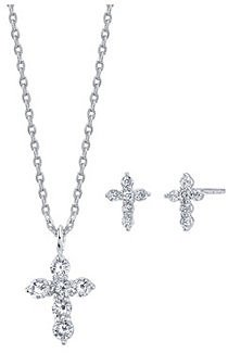 Unwritten 2-Pc. Set Cubic Zirconia Mini Cross Necklace & Stud Earrings in Fine Silver-Plate, Created for Macy's & Reviews - Fashion Jewelry - Jewelry & Watches