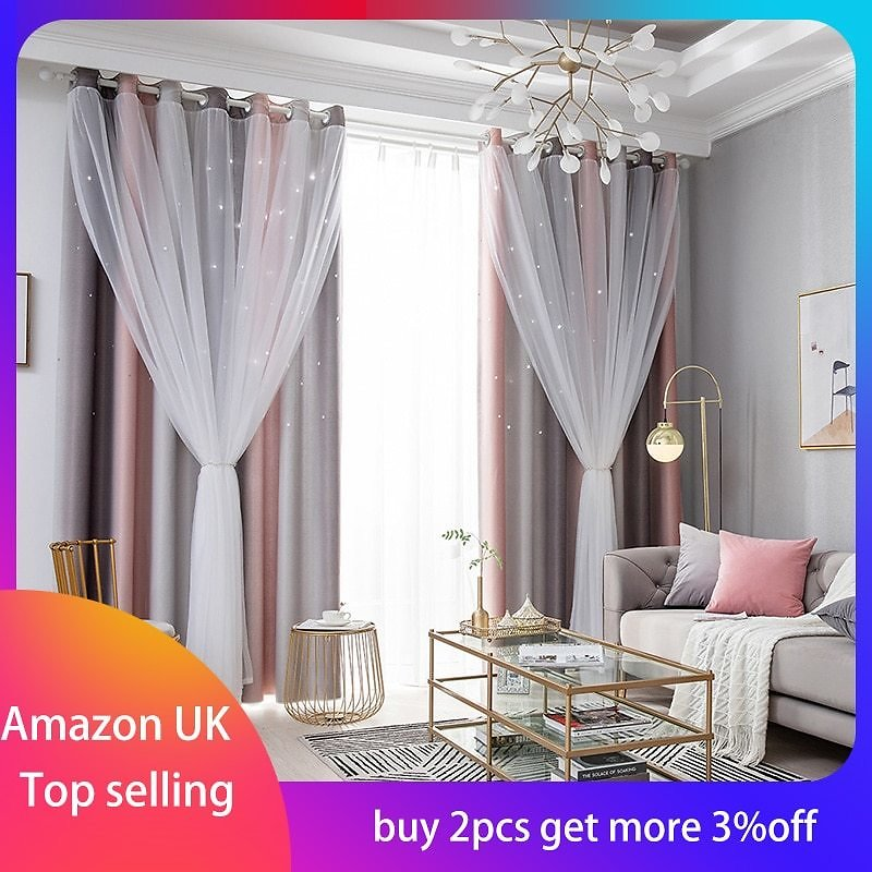 US $13.07 29% OFF|Blackout Star Curtains Stars Blackout Curtains for Kids Girls Bedroom Living Room Colorful Double Layer Star Window Curtains|Curtains| - AliExpress