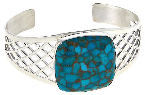 Exclusive! Jay King Sterling Silver Cushion-Cut Gemstone Cuff Bracelet
