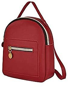 ERIUAES Cute Leather Backpack Mini Daypacks Convertible Shoulder Bag Letter Purse Mobile Phone Messenger Bag (Red)
