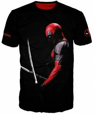 Deadpool Marvel T-shirt Cosplay Movie 3D Tee Top New Quick Dry Black Sale