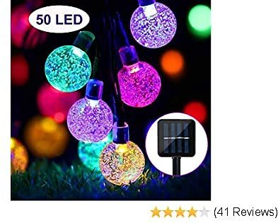 SYLHLW Solar String Lights Outdoor, 50 LED 23Ft String Lights Waterproof Fairy Lights Solar Powered Garden Lights Crystal Ball Decorative Lighting for Garden, Home, Christmas, Home Decoration