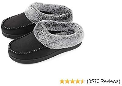 ULTRAIDEAS Women's Cozy Memory Foam Moccasin Suede Slippers with Fuzzy Plush Faux Fur Lining, Ladies' Slip On House Shoes with Indoor Outdoor Anti-Skid Rubber Sole