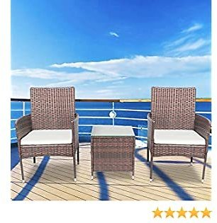 LinkRomat 3 Pieces Patio Furniture Sets, Modern Outdoor Woven Wicker, Rattan Conversation Sets with Coffee Table(Brown)