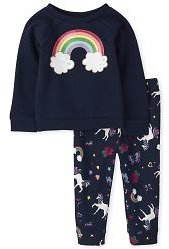 Toddler Girls Long Sleeve Rainbow Sweatshirt And Unicorn Print Jogger Pants Outfit Set
