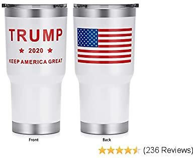 HEATO Keep America Great 2020, Double Wall Stainless Steel Insulated Travel Mug Coffee Cup with Lid (White, 30 Oz)