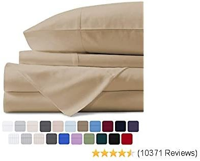 Mayfair Linen 100% Egyptian Cotton Sheets, Sand Full Sheets Set, 800 Thread Count Long Staple Cotton, Sateen Weave for Soft and Silky Feel, Fits Mattress Upto 18'' DEEP Pocket