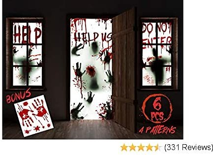 """KD KIDPAR 6Pcs Halloween Window Door Decoration Covers Set, Includes 4Pcs 60x30"""" Window Clings and 2Pcs 80x36"""" Door Posters with Bloody Handprints Scary Silhouette, Indoor and Outdoor Décor for Party"""