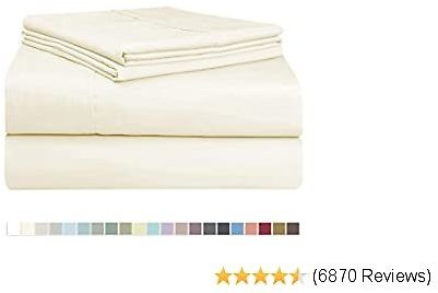 Pizuna 400 Thread Count Cotton Twin Cotton Sheets Set Cream, 100% Long Staple Cotton 3 Piece Bed Sheets, Cotton Sateen Sheets Fit Upto 15 Inch Deep Pocket (Cream Twin Cotton Sheets)