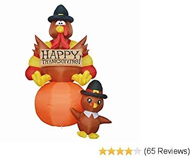 GOOSH Thanksgiving Day Inflatables Turkeys LED Lights Indoor Outdoor Yard Lawn Decoration Holiday Blow Up Turkey Party Display