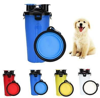 2 in 1 Pet Food Container Dog Water Bottle Dish Feeder Bowl Folding Bottle Cup