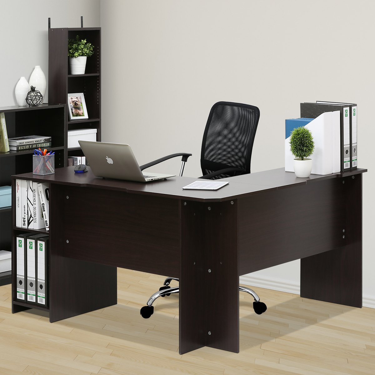 Furinno Indo L-Shaped Desk with Bookshelves, Espresso