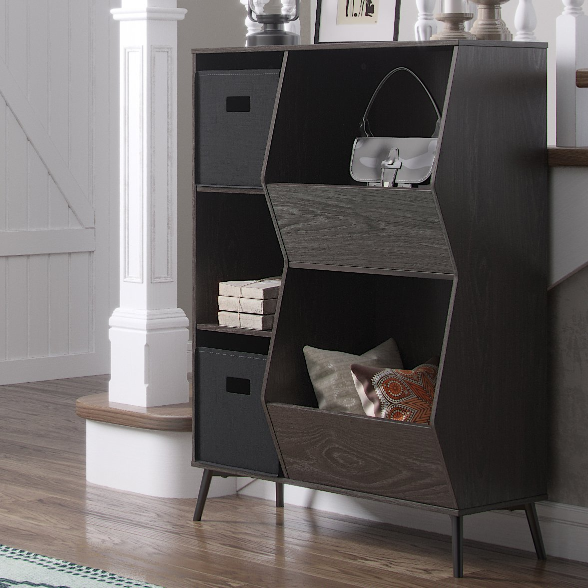 RiverRidge Woodbury Collection Storage Cabinet with Cubbies and Veggie Bins and 2pc Bin - Black