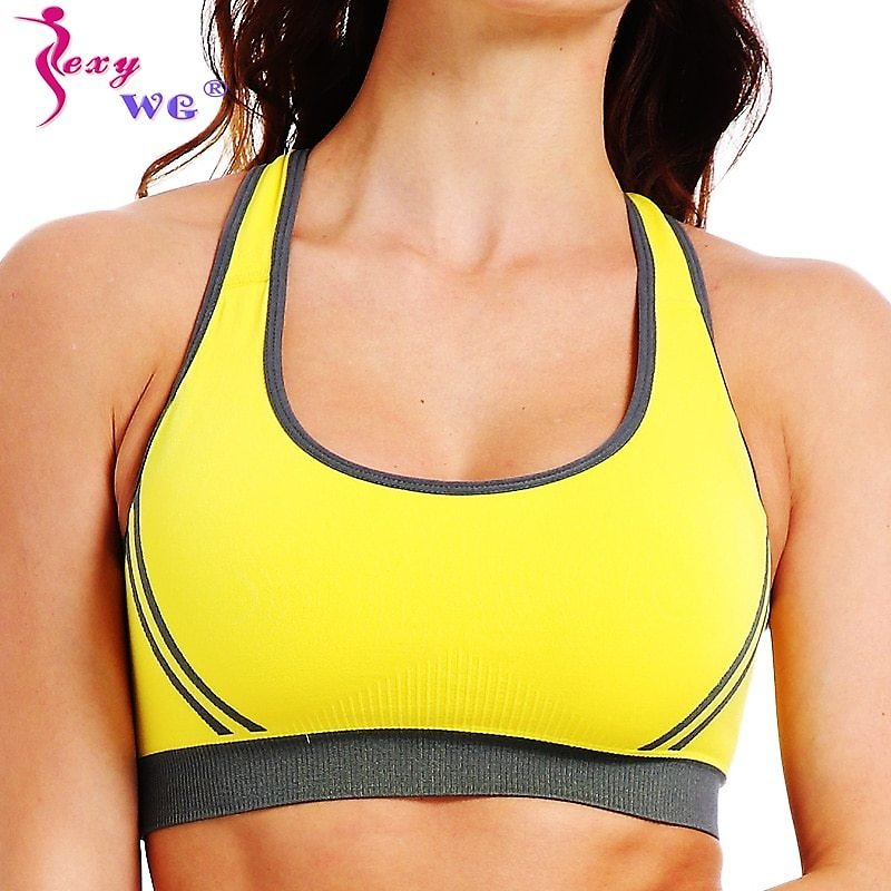 SEXYWG Yoga Bra Women Sports Top Sexy Cross Back Shockpoof Running Gym Shirt Athletic Vest Active Wear Girl Push Up Brassiere BH