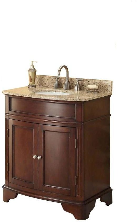 Home Decorators Collection Terryn 31 In. W X 35 In. H X 20 In. D Vanity in Cherry with Granite Vanity Top in Beige with White Basin-MD-V1218