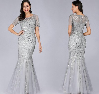 Evening Dress V-Neck Mermaid Sequined Formal Dresses Women Elegant Party Gowns