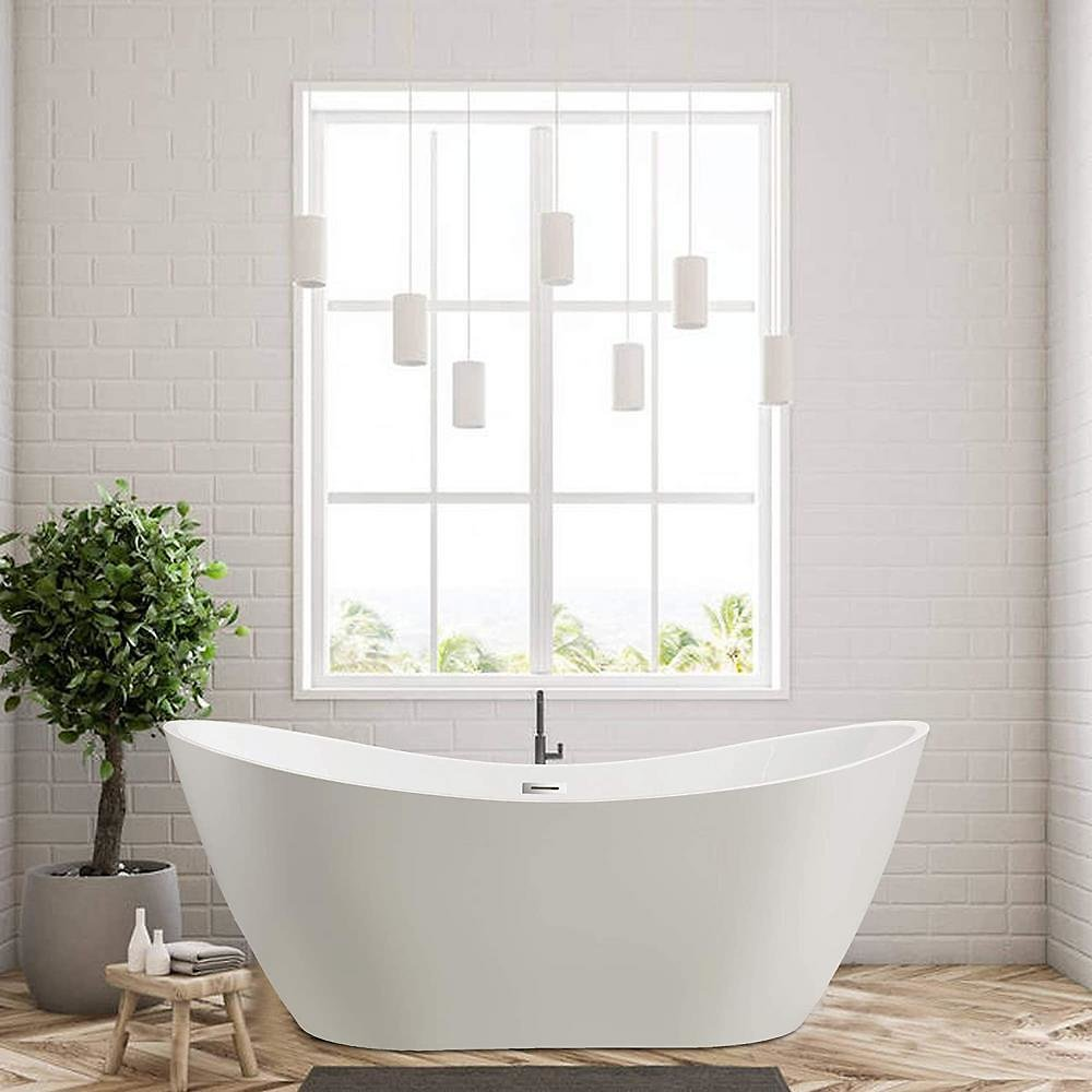 Vanity Art Mulhouse 71 In. Acrylic Flatbottom Freestanding Bathtub in White-VA6517