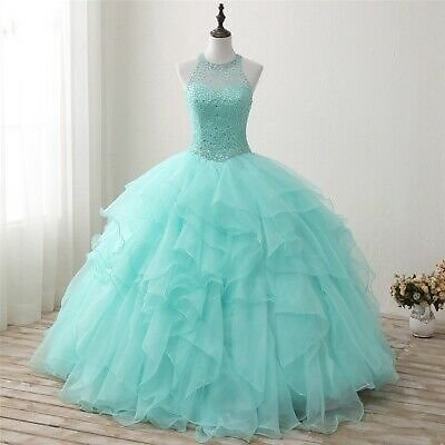 Sexy High Neck Mint Quinceanera Dresses Formal Ball Gown Crystal Sweet 16 Dress