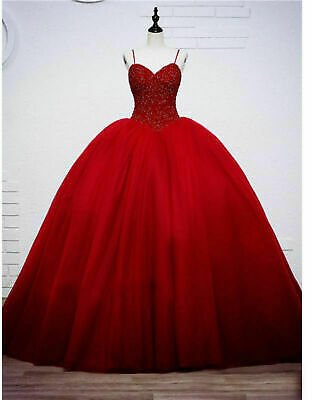 2020 Red Formal Prom Ball Gown Quinceanera Dresses Pageant Evening Gown Custom