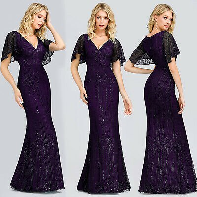 Ever-Pretty Plus Size V-Neck Long Bridesmaid Dresses Formal Mermaid Ball Gown UK