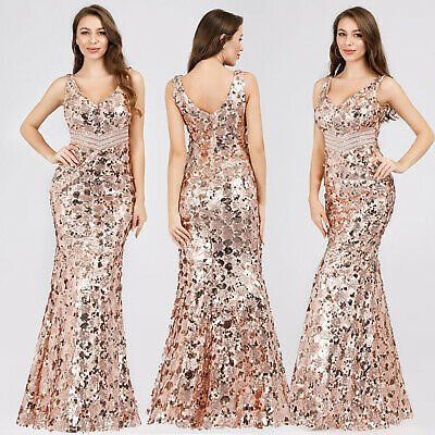 Ever-Pretty Gold Long Sequins Evening Dresses Mermaid Formal Cocktail Prom Gowns