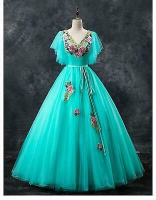Elegant Quinceanera Dress Luxury Lace Embroidery V-neck Formal Prom Ball Gown