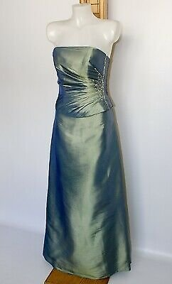 Green Long Dress Straight Bandeau Evening Formal Gown Party Beads Sequins UK14