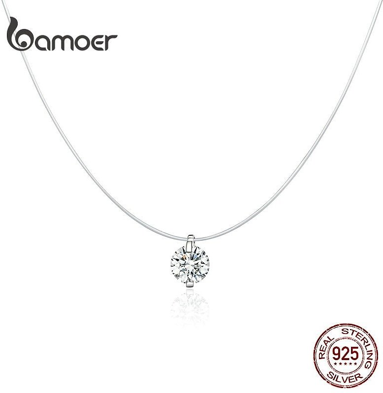 US $4.61 40% OFF|bamoer Silver Invisible Chain Necklaces Pendants Rhinestone Choker Necklaces Transparent Fishing Line Collier Femme SCN332|Necklaces| - AliExpress