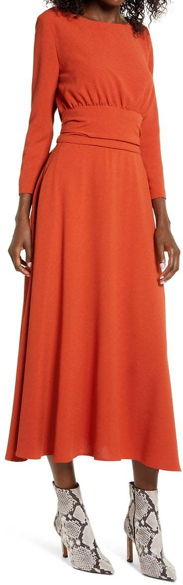Julia Jordan Three Quarter Sleeve Midi Dress | Nordstrom