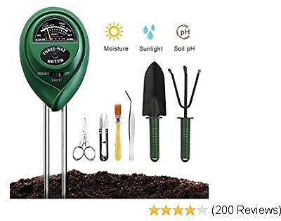 Soil Moisture Meter Sunlight Tester with Upgrade Bonsai Tools, 3 in 1 Soil Test Kit for PH/Moisture/Light, for Home and Garden, Lawn, Farm, Indoor & Outdoor Plants Care (No Battery Needed)