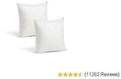 Set of 2-12 X 12 Premium Hypoallergenic Stuffer Pillow Inserts Sham Square Form Polyester, Standard/White - Made in USA