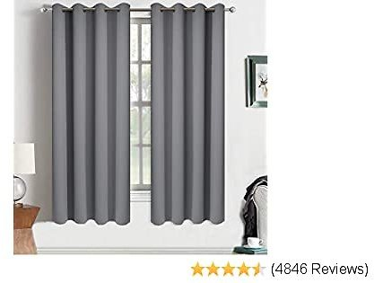 Yakamok Room Darkening Curtains Thermal Insulated Gray Blackout Curtain Panels Solid Grommet Top Window Drapes for Bedroom, 2 Tie Backs Included(52x72 Inch, Grey, 2 Panels)