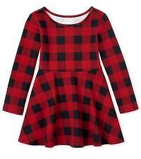 Baby And Toddler Girls Long Sleeve Buffalo Plaid Knit Skater Dress