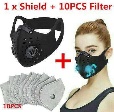 NEW Style Cycling Face Mask With Active Carbon Filter Breathing Valves Reusable